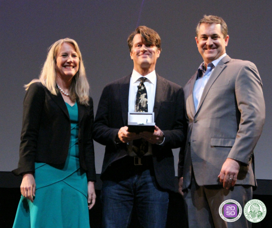 Pictured left to right: Dr. Marie Price (AGS President), Mr. John Hanke (CEO, Niantic Labs), and Dr. Christopher Tucker (AGS Chair).