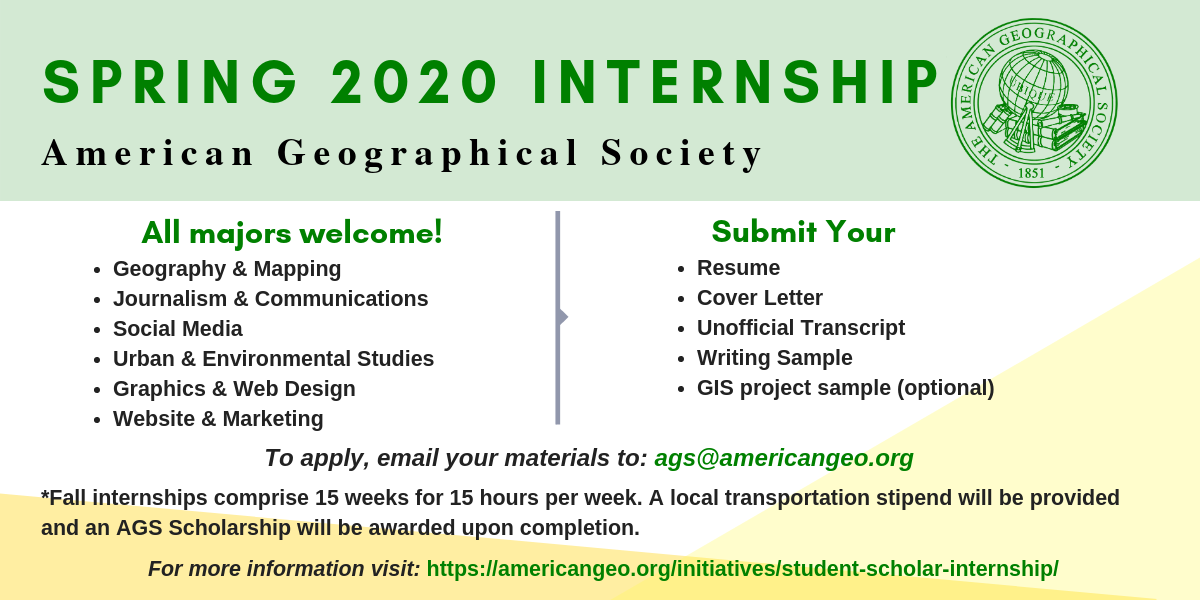 Human Geography Current Events 2020.Student Scholar Internship American Geographical Society